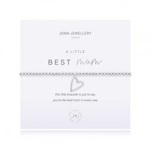 A silver plated elasticated bracelet with round beads and a silver heart pendant. From Joma Jewellery A little range. Presented on a white card with silver BEST Mum and a sentiment that reads this little bracelet is just to say you're the best mum in every way