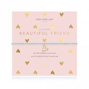 A silver plated elasticated bracelet with round beads and a gold heart pendant. From Joma Jewellery A little range. Presented on a pink card with gold hears and a sentiment that reads this little bracelet is just to say you're a beautiful friend in every way