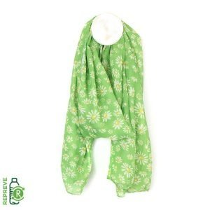 Apple green recycled scarf with a pretty daisy print in white,cream and yellow