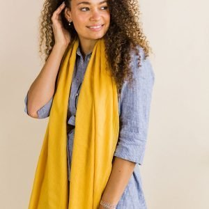 A bright yellow large scarf in soft viscose with a subtle crinkle and an eyelash fringe
