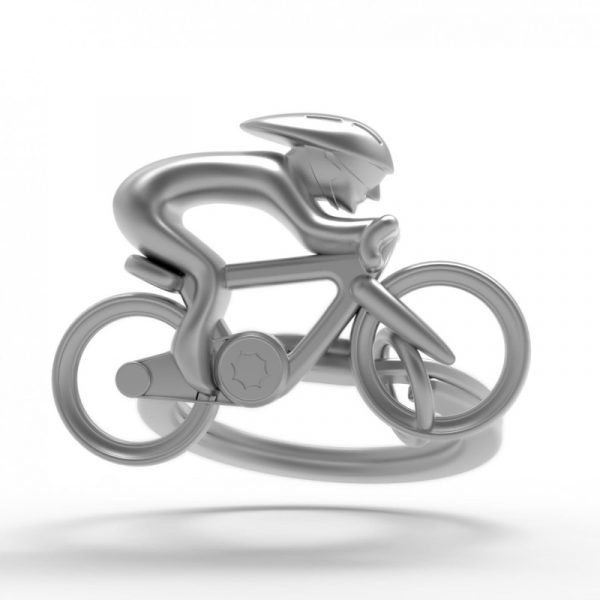 Zinc and chrome matt silver cyclist key ring