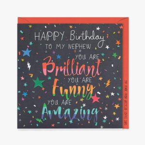A dark card with stars and the words Happy Birthday to my Nephew you are brilliant you are funny you are amazing
