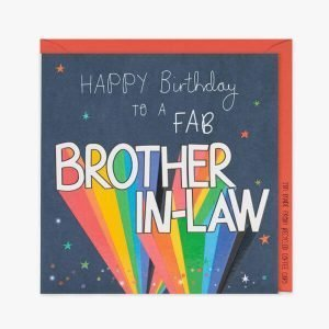 A dark navy card with spots and stars and the words Happy Birthday to a fab brother in law. Brother in law is in rainbow letters