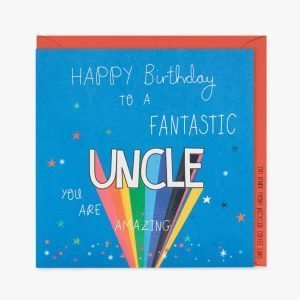 A blue card with spots and stars and the words Happy Birthday to a fantastic Uncle you are amazing. Uncle is in rainbow colours
