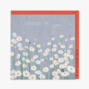 A thinking of you card with a pale blue background and lots of white daisies