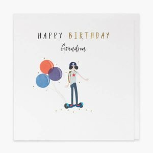 A white card with a colourful image of a young boy on a segway in cool shades and balloons and the words Happy Birthday Grandson