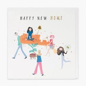 A new home card with gold foil and embossed details. A drawing of colourful characters carrying a girl on a sofa and the words happy new home