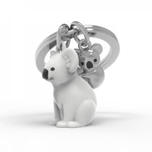 A metal keyring with a gorgeous koala and her baby