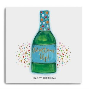 A square card with an image of a colourful bottle with colourful spots in the background and the words Bottoms Up printed in the centre of the label on the bottle.