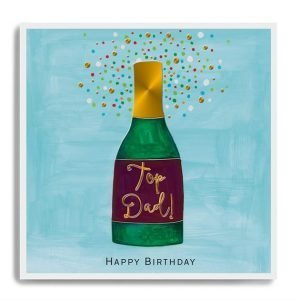 A square card with an image of a bottle of wine on a blue background and the words Top Dad printed on the label.