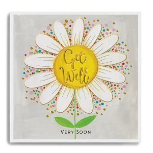 A square card with an image of a large daisy with the words Get Well Soon printed in the centre of the daisy.