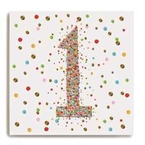 A white square card with a larg number 1 in the centre of it which is made up of colourful dots. There are colourful dots all around on the background of the card.