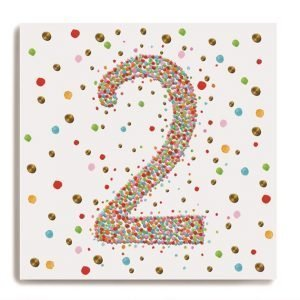 A white square card with a larg number 2 in the centre of it which is made up of colourful dots. There are colourful dots all around on the background of the card.