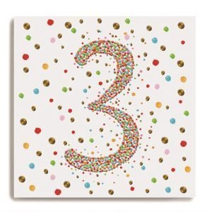 A white square card with a larg number 3 in the centre of it which is made up of colourful dots. There are colourful dots all around on the background of the card.