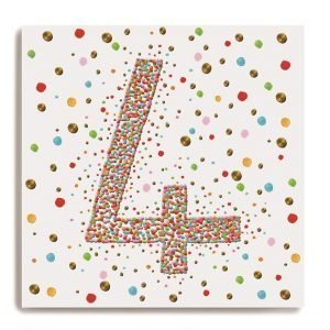 A white square card with a larg number 4 in the centre of it which is made up of colourful dots. There are colourful dots all around on the background of the card.