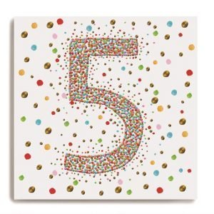 A white square card with a larg number 5 in the centre of it which is made up of colourful dots. There are colourful dots all around on the background of the card.