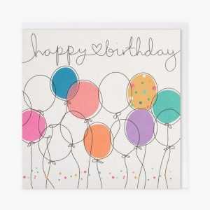 A white card with colourful balloons and dots and the words happy birthday