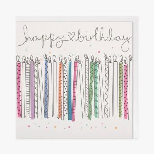 a birthday card with lots of colourful candles and the words happy birthday
