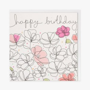 A white card with lots of hand drawn flowers, some of which are coloured in shades of pink. Happy birthday