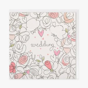 A wedding card with a black and white line drawing of abstract flowers and hearts some of which are coloured in in shades of pink