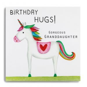 A square card with an image of a colourful unicorn printed on it and the wortds Birthday Hugs Gorgeous Granddaughter printed on it.