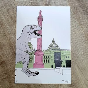 an A4 print of the Earl Grey Monument in Newcastle upon Tyne with a casual T Rex dinosaur strolling by! A contemporary print that will fit a standard A4 frame