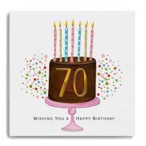 A square card with an image of a large chocolate birthday cake with lots of candles on it and the number 70 printed in gold in the centre of it. The words Wishing you a Happy Birthday are printed underneath the cake.