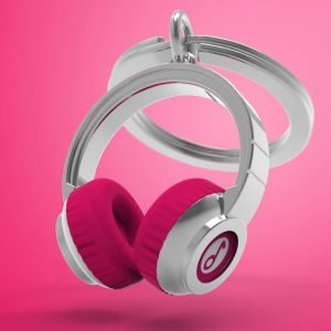 Pink headphones key ring