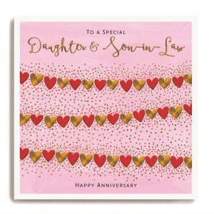 A square card with a pink background and a heart shaped bunting design across it.