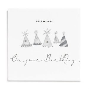 A white square card with images of party hats that are printed in grey and silver and are finished with little diamante jewels. The words Best Wishes on your birthday are printed on the card too.