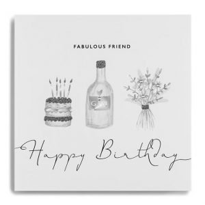 A white square card with images of a cake, a bottle of gin and some flowers which have been printed in grey and silver and finished off with little diamante jewels. The words Fabulous Friend Happy Birthday are printed on the card.