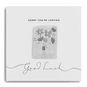 A white square card with a grey square in the centre of it and an image of flowers on it which have been finished off with diamante. The word Sorry You're Leaving Good Luck are also printed on the card.