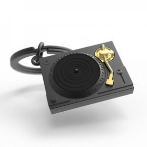 A grey and gold turntable keyring