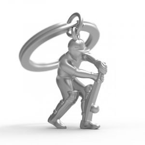 A cricket player metal key ring