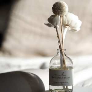 A fragrance clear glass vase with a bouquet of wooden and cotton diffusers which soak up the liquid and give off a fabulous aroma.