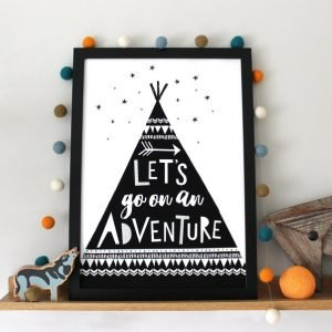 A black and white print with an image of a tent and the words Lets go on an adventure printed on it.