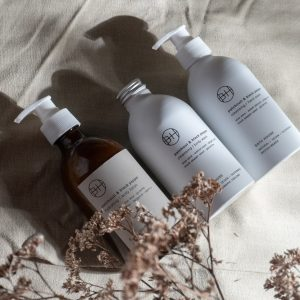 An image of three bottles of patchouli and black pepper toiletry products.A body wash Hand wash and body lotion.