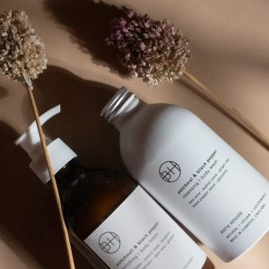 An image of two bottles of Bath House Patchouli and Black Pepper body wash and Hand Lotion.