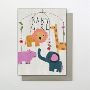 A colourful Baby Girl card with an image of a hanging mobile with jungle animals on it and the words Baby Girl printed on it.