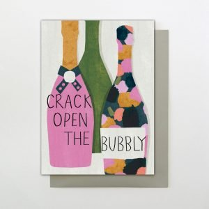A card with an image of three bottles of champagne with colourful labels and the words Crack open the bubbly printed on them.