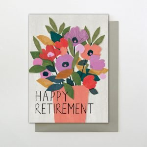 A colourful Happy Retirement card with an image of a plant in a plant pot and the words Happy Retirement printed on it.