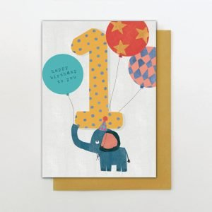 A cute card from the Big Day out range of cards from Stop the Clock. With a cute elephant with balloons and a giant yellow number 1