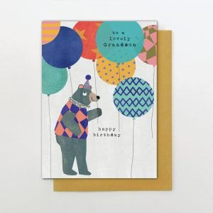 A cute card from the Big Day out range of cards from Stop the Clock. With a cool bear and loads of colourful balloons and the words To a Lovely Grandson Happy Birthday printed on it.