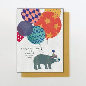 A cute card from the Big Day out range of cards from Stop the Clock. With a cool bear with lots of colourful balloons and the words Happy Birthday to a special little boy.