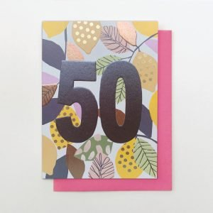 A beautifully floral card from the Flower Power range from Stop The Clock. The card is covered in flowers and has the number 50 in foil printed on it.