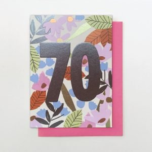 A beautifully floral card from the Flower Power range from Stop The Clock. The card is covered in flowers and has the number 70 in foil printed on it.