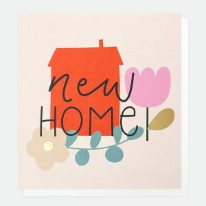 A contemporary New Home card from British designer Caroline Gardiner. With and image of a big red house flowers and New Home printed in modern fonts.