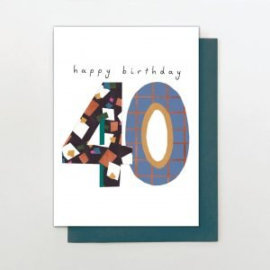 A sweet colourful card from the Oh Hello range of cards from Stop The Clock. a large number 18 that has been created with colourful designs.