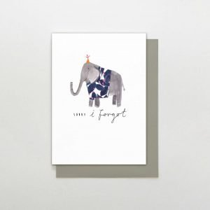A cute card from the Wild at Heart range of cards by Stop the Clock. The white card has an image of a painted elephant wearing a jumper in the centre of it and the words Sorry I Forgot printed on it.