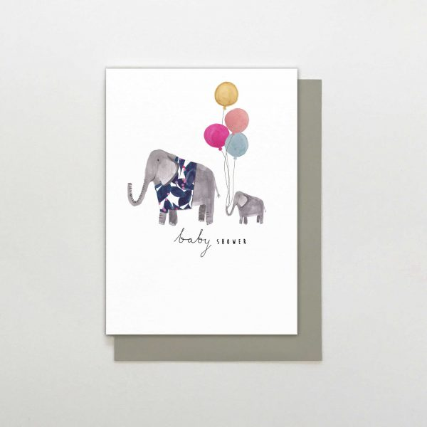 A cute card from the Wild at Heart range of cards by Stop the Clock. The white card has an image of a painted mother and baby elephant wearing jumpers and carrying balloons in the centre of it and the words Baby Shower printed on it.